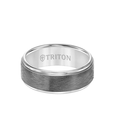 8MM Tungsten Carbide Ring - Gunmetal Crystalline Center and Step Edge