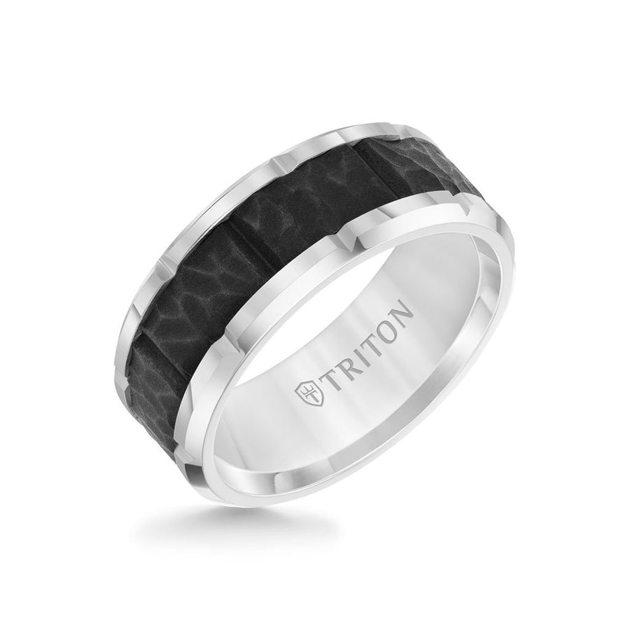9MM Tungsten Carbide Ring - Black Sandblasted Center and Bevel Edge