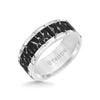 9MM Tungsten Carbide Ring - Black Sandblasted Distressed Center and Bevel Edge