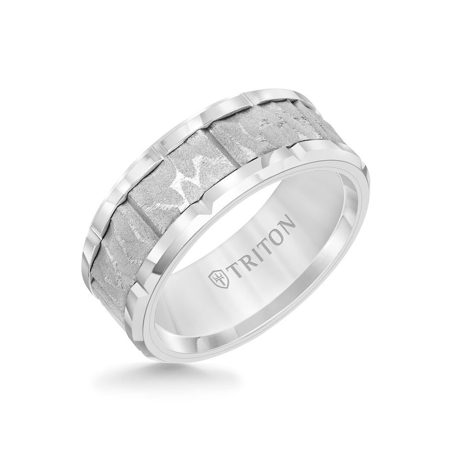 9MM Tungsten Carbide Ring - Sandblasted Distressed Center, Bevel Edge & Bright Rims