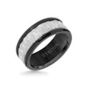 9MM Tungsten Carbide Ring - Sandblasted Distressed Center, Bevel Edge & Polished Rims