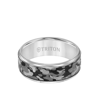 8MM Tungsten Carbide Ring - Camo Pattern and Flat Edge