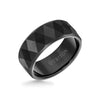 9MM Tungsten Carbide Ring - Faceted Diamond Pattern and Flat Edge