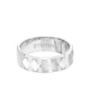 7MM Tungsten Carbide Ring - Faceted Diamond Pattern and Flat Edge