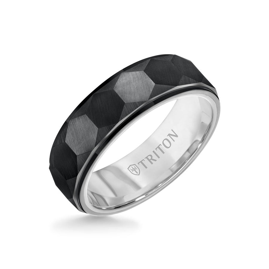 7MM Tungsten Carbide Ring - Faceted Hexagon Pattern and Step Edge