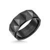 9MM Tungsten Carbide Ring - Faceted Pyramid Pattern and Round Edge