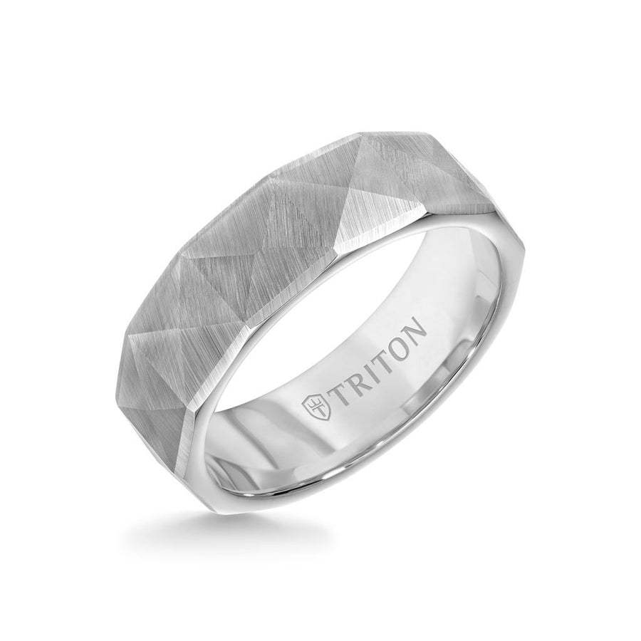 7MM Tungsten Carbide Ring - Faceted Pyramid Pattern and Round Edge