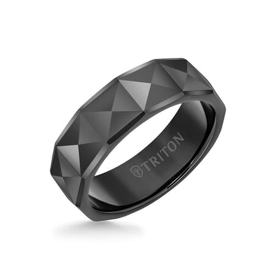 7MM Tungsten Carbide Ring - Faceted Pyramid Center and Round Edge