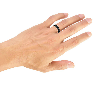 8MM Tungsten Carbide Ring - Faceted Chevron Pattern and Bevel Edge