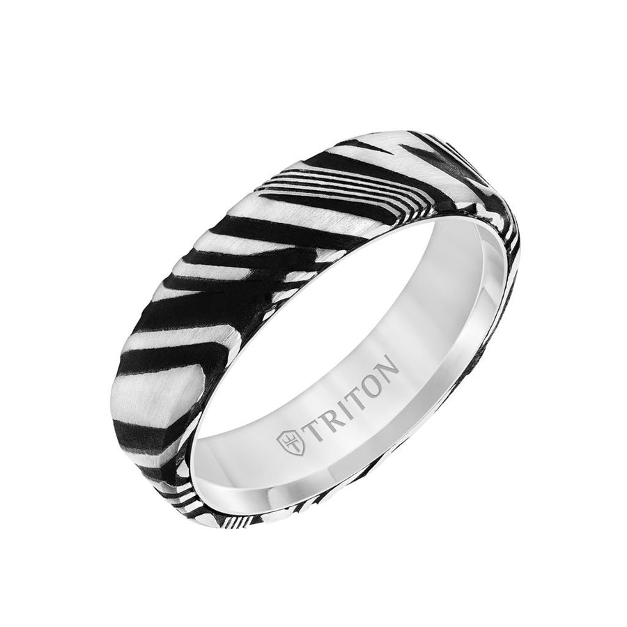 6MM White Tungsten Carbide Ring with Damascus Steel