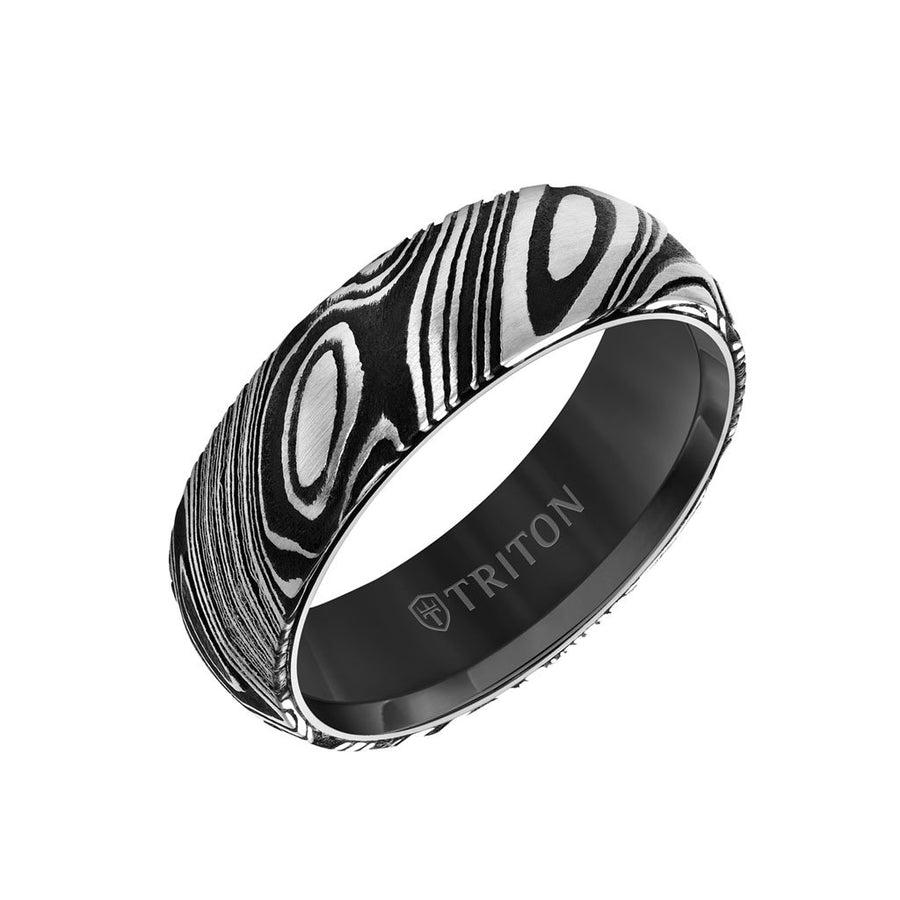 8MM Black Tungsten Carbide Ring with Damascus Steel