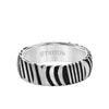 7MM White Tungsten Carbide Ring with Damascus Steel