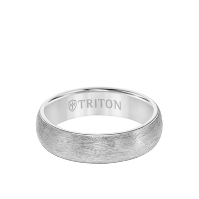 6MM Tungsten Carbide Ring - Crystalline Finish and Rolled Edge