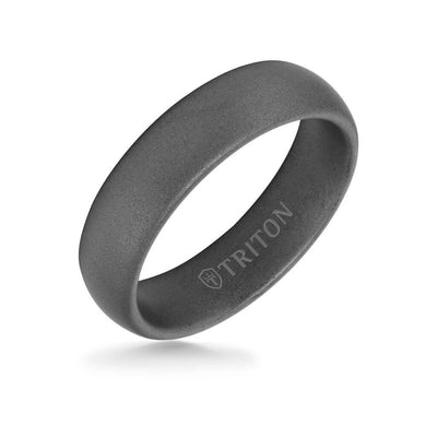 6MM Tungsten Carbide Ring - Light Sandblasted Finish and Rolled Edge