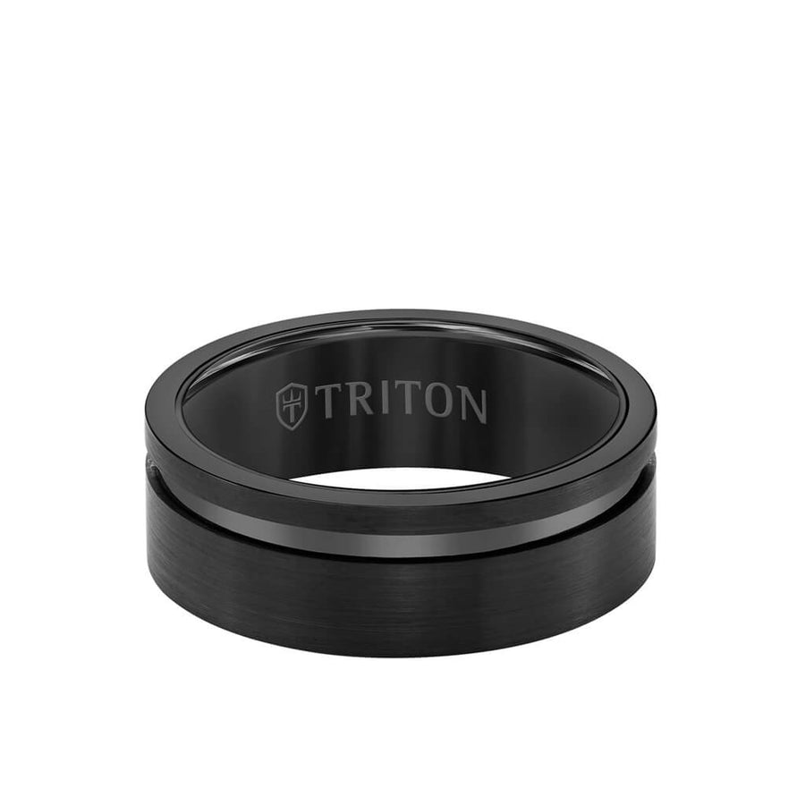 8MM Tungsten Carbide Ring - Satin Finish and Asymmetrical Channel