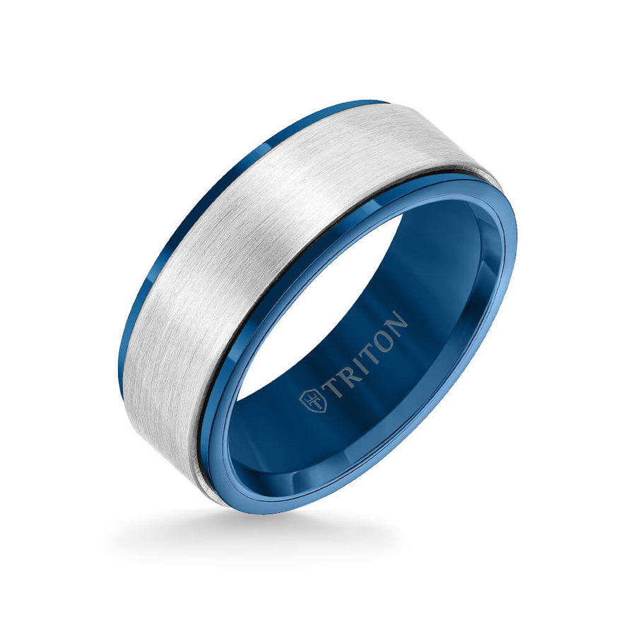 8MM Tungsten Carbide Ring - Satin Finish Center and Blue Step Edge