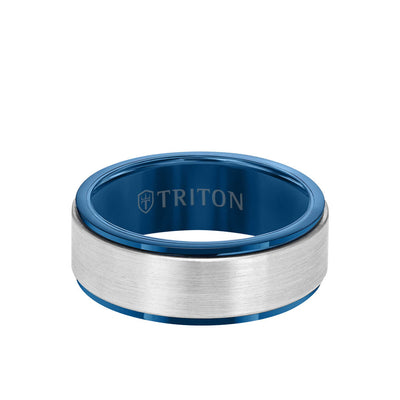 8MM Tungsten Carbide Ring - Satin Finish Center and Step Edge