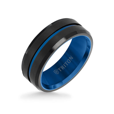 8MM Tungsten Carbide Ring - Satin Finish Center with Center Line