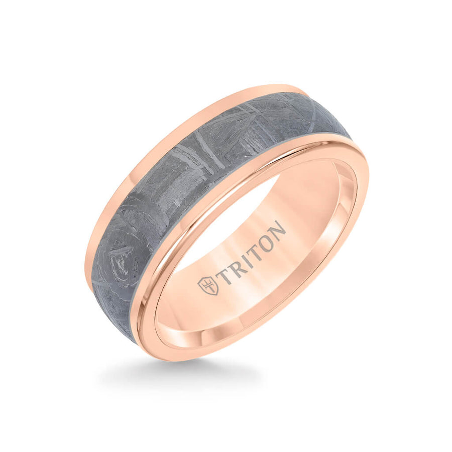 8MM Rose Tungsten Carbide Ring - Meteorite Insert and Round Edge