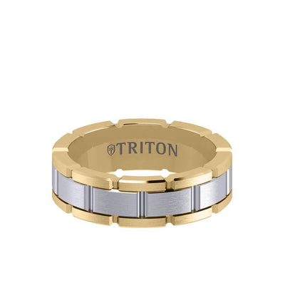 7MM 14K Gold Ring - Satin Finish Link Design and Flat Edge