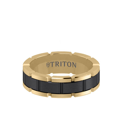 7MM Tungsten Black DLC Ring - T-Link Design