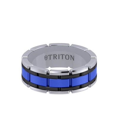 8MM Tungsten Carbide Ring - Ceramic Center Stitch Design