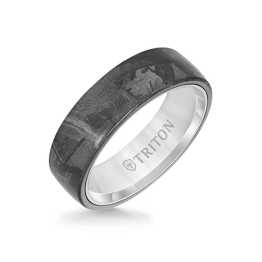 7MM Tungsten Carbide Ring - Meteorite Low Dome and Flat Edge