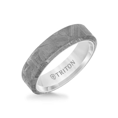 6MM Tungsten Carbide Ring - Meteorite Flat Profile and Bevel Edge