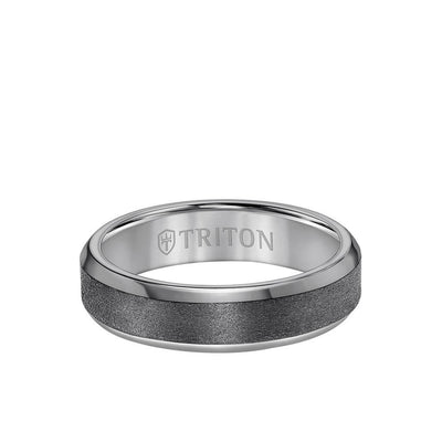 6MM Tantalum Ring - Vertical Satin Finish and Bevel Edge