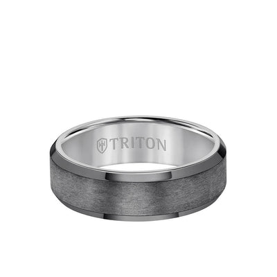7MM Tantalum Ring - Vertical Satin Finish and Bevel Edge