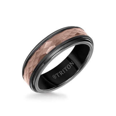 7MM Espresso Tungsten Carbide Ring - Hammered Center and Step Edge
