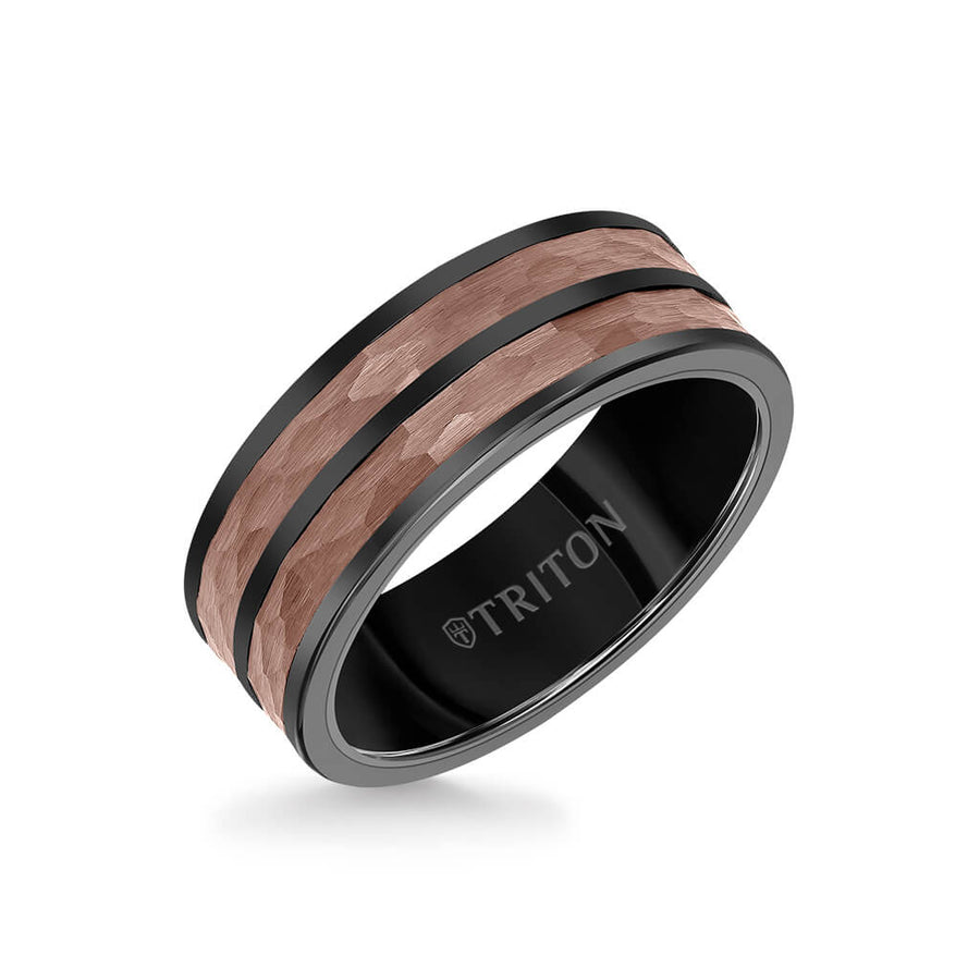 8MM Espresso Tungsten Carbide Ring - Hammered Split Center