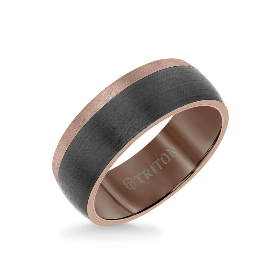 8MM Espresso Tungsten Carbide Ring - Color Blocking and Dome Shape
