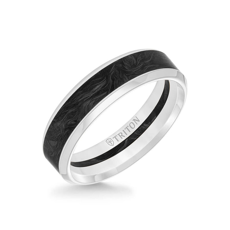 6MM 14K Gold Ring + Forged Carbon - Channel Center & Bevel Edge
