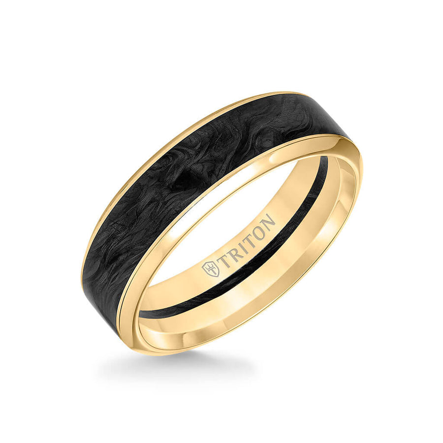 7MM 14K Gold Ring + Forged Carbon - Channel Center & Bevel Edge