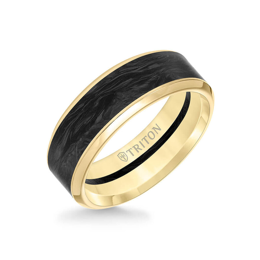8MM 14K Gold Ring + Forged Carbon - Channel Center & Bevel Edge