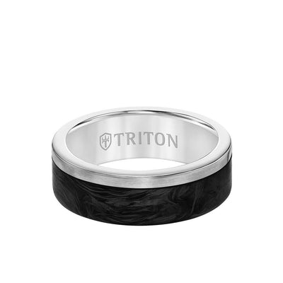 7MM Titanium & Forged Carbon  Ring - Flat Profile and Asymmetrical Channel