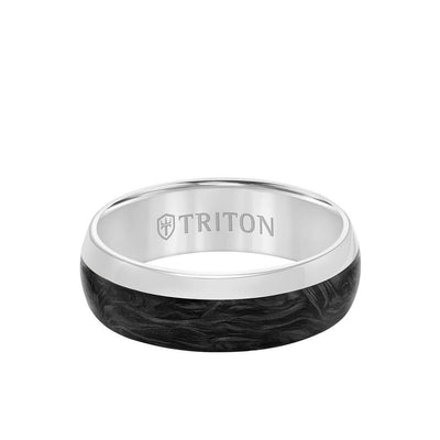 7MM 14K Gold Ring +Forged Carbon - Dome Profile with Asymmetrical Channel