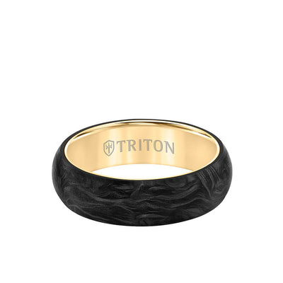 6MM 14K Gold Ring + Forged Carbon - Dome Profile with 14K Gold Interior