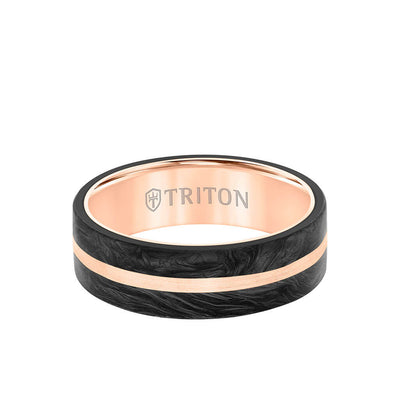 7MM 14K Gold Ring + Forged Carbon - Flat Profile and Center Channel