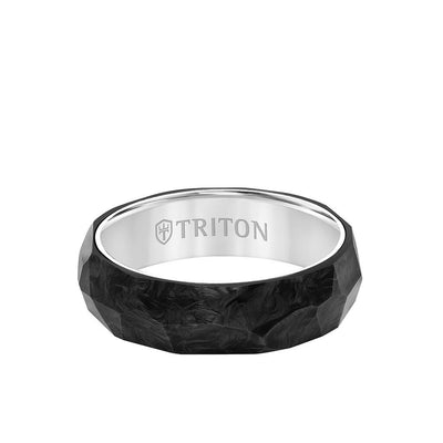 6.5MM Titanium & Forged Carbon Ring - Faceted Profile and Bevel Edge