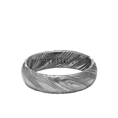 6MM Solid Damascus Steel Ring - Dome Profile