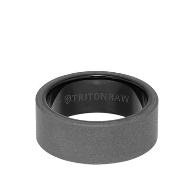 9MM Tungsten Raw Ring - Sandblasted With Inside Shine and Flat Edge