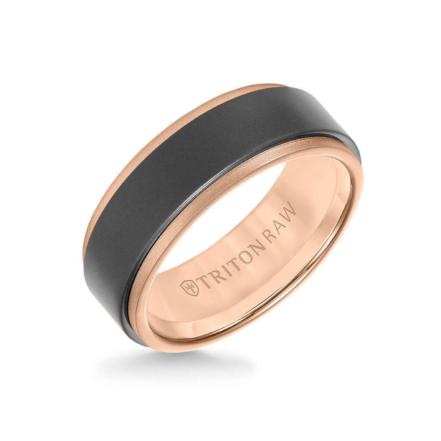 8MM Tungsten Raw + 18K Matte Gold Ring - Sandblasted Center and Step Edge