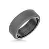 8MM Tungsten Raw Ring - Sandblasted With Black Inside Shine and Bevel Edge