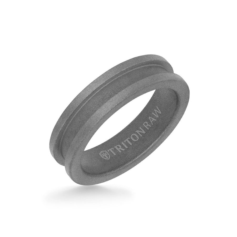 6MM Tungsten Raw Ring - Sandblasted Matte Finish and Slot Profile