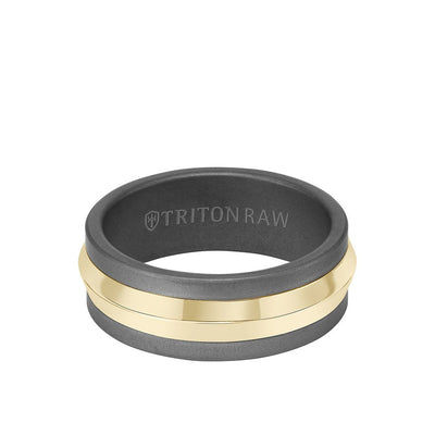 8MM Tungsten Raw + 14K Bright Gold Ring with Knife Edge