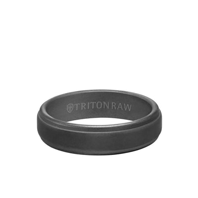 6MM Tungsten Raw Black DLC Ring - Matte Finish and Step Edge
