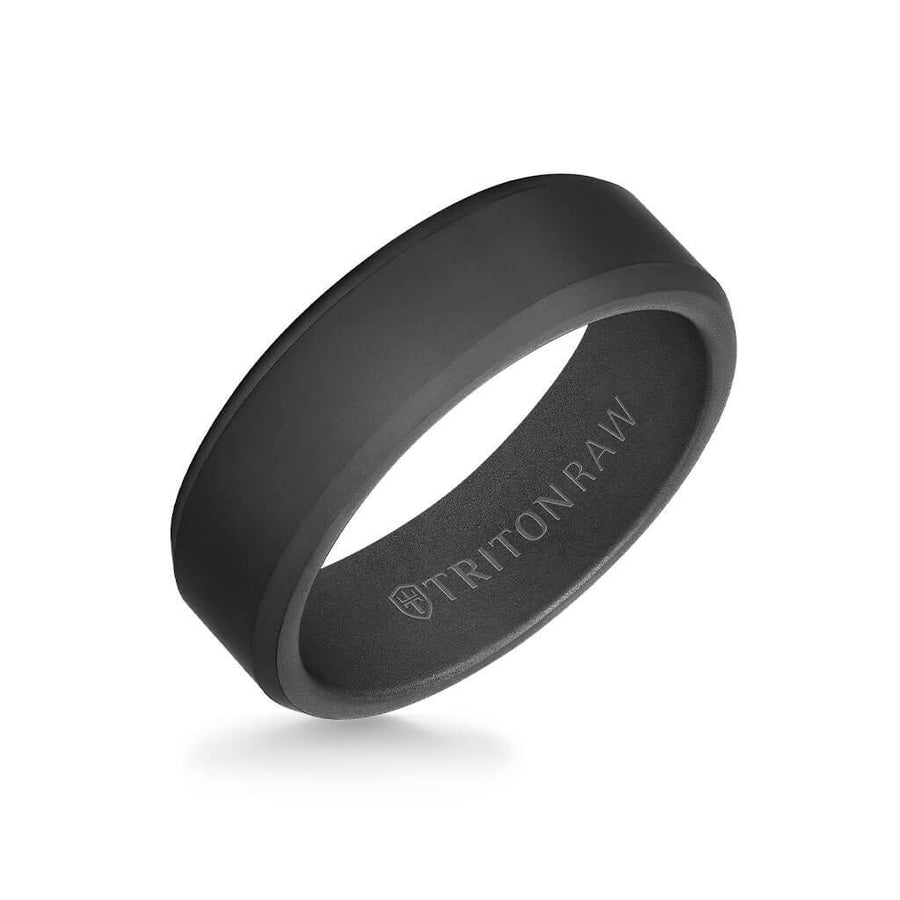 7MM Tungsten Raw Black DLC Ring - Matte Finish and Bevel Edge