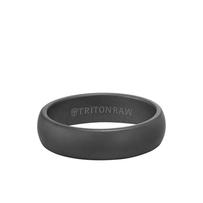 6MM Tungsten Raw Black DLC Ring - Dome Profile and Rolled Edge